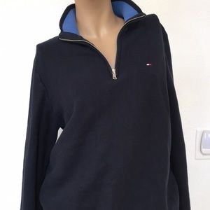 Tommy Hilfiger Navy Honeycomb Cotton Zip Sweater M